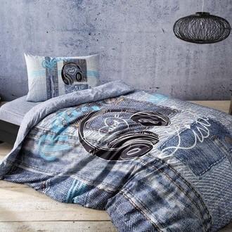 Комплект подросткового постельного белья TAC LISTEN хлопковый ранфорс (голубой)