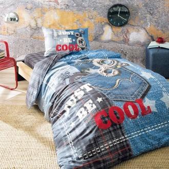 Комплект подросткового постельного белья TAC COOL хлопковый ранфорс (голубой)