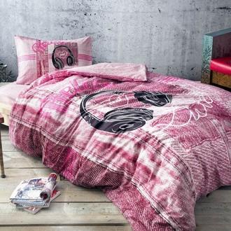 Комплект подросткового постельного белья TAC LISTEN хлопковый ранфорс (розовый)
