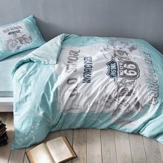 Комплект подросткового постельного белья TAC ROUTE хлопковый ранфорс (голубой)