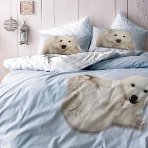 Комплект подросткового постельного белья TAC BEAR хлопковый ранфорс голубой евро