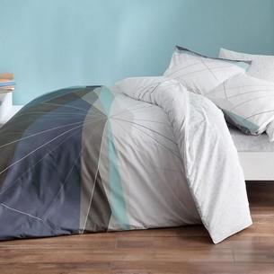 Комплект подросткового постельного белья TAC POWER хлопковый ранфорс серый евро