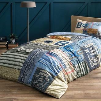 Комплект подросткового постельного белья TAC BLUE JEANS хлопковый ранфорс (синий)