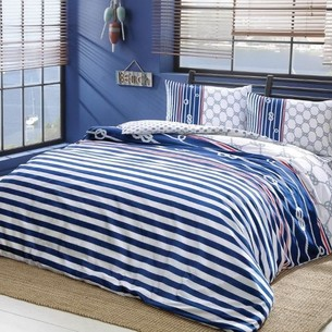 Комплект подросткового постельного белья TAC BLUE хлопковый ранфорс синий евро