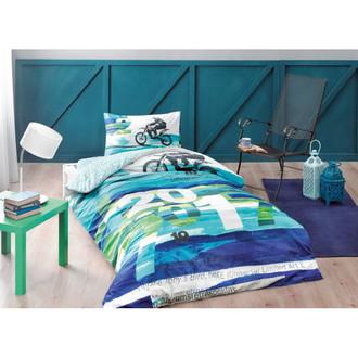 Комплект подросткового постельного белья TAC LIMITED хлопковый ранфорс (бирюзовый)