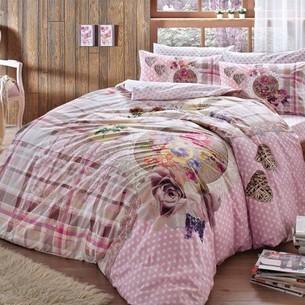 Постельное белье TAC HAPPY DAYS LIVIA хлопковый ранфорс розовый 1,5 спальный
