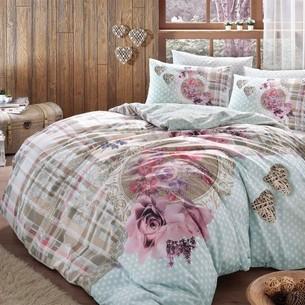 Постельное белье TAC HAPPY DAYS LIVIA хлопковый ранфорс голубой 1,5 спальный