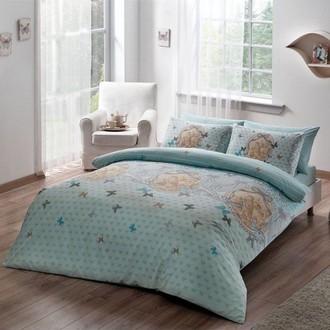 Комплект постельного белья TAC HAPPY DAYS LOIRE хлопковый ранфорс (ментол)