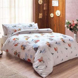 Комплект постельного белья TAC HAPPY DAYS LENNY хлопковый ранфорс (белый+красный)