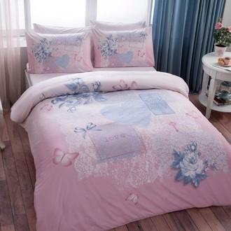 Комплект постельного белья TAC HAPPY DAYS ADELIA хлопковый ранфорс (розовый)