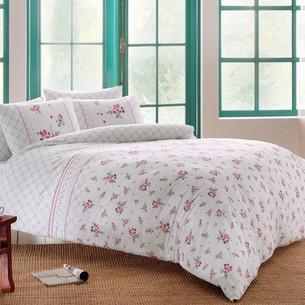 Постельное белье TAC HAPPY DAYS SASHA хлопковый ранфорс белый+лиловый 1,5 спальный