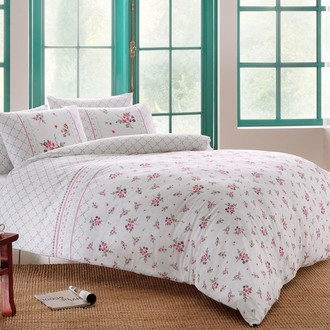 Комплект постельного белья TAC HAPPY DAYS SASHA хлопковый ранфорс (белый+лиловый)