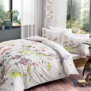 Постельное белье TAC HAPPY DAYS SCARLET хлопковый ранфорс белый+лиловый 1,5 спальный