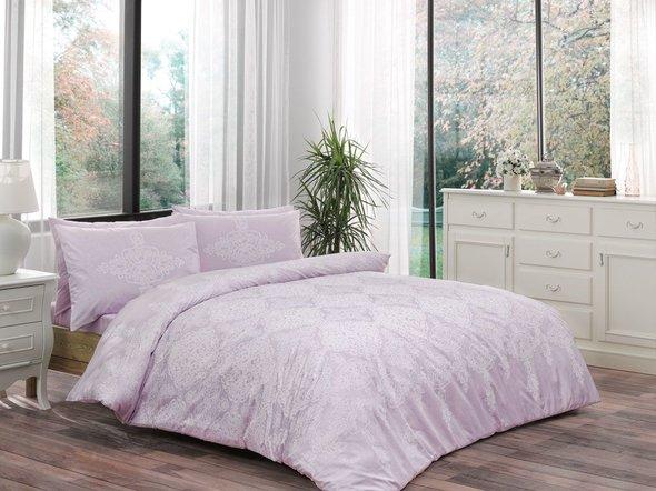 Комплект постельного белья TAC HAPPY DAYS BLANCE хлопковый ранфорс (лиловый) евро, фото, фотография