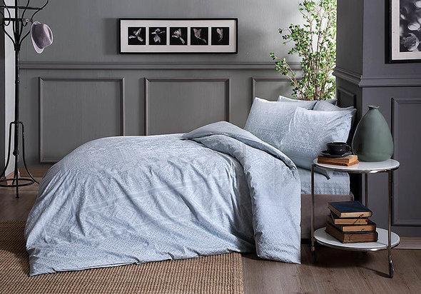 Комплект постельного белья TAC HAPPY DAYS FABIAN хлопковый сатин (ментол) евро, фото, фотография