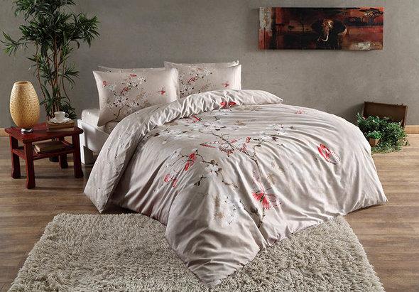 Комплект постельного белья TAC HAPPY DAYS FIONA хлопковый сатин (бежевый) 1,5 спальный, фото, фотография