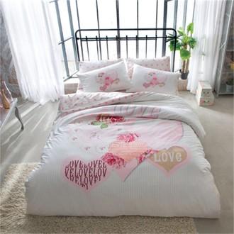 Комплект постельного белья TAC HAPPY DAYS DULCEA хлопковый сатин (розовый)
