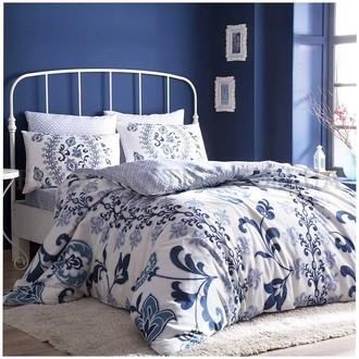 Комплект постельного белья TAC HAPPY DAYS LUCIANA хлопковый сатин (синий)