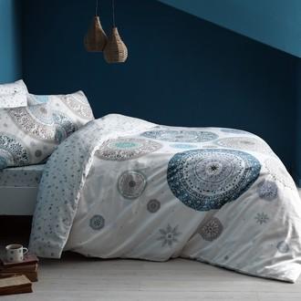 Комплект постельного белья TAC HAPPY DAYS ATLAS хлопковый сатин (голубой)
