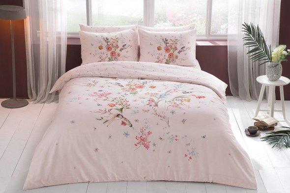Комплект постельного белья TAC HAPPY DAYS MARTHA хлопковый сатин (пудра) 1,5 спальный, фото, фотография