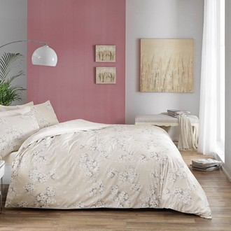 Комплект постельного белья TAC HAPPY DAYS FLORA хлопковый сатин (бежевый)
