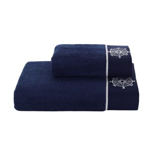 Полотенце для ванной Soft Cotton MARINE LADY хлопковая махра тёмно-синий 85х150