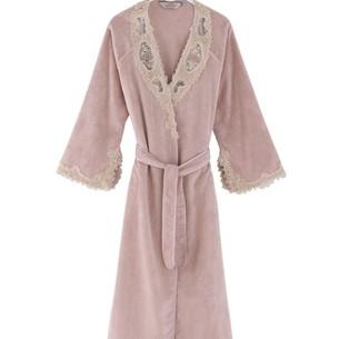 Халат женский Soft Cotton DESTAN хлопковая махра тёмно-розовый S