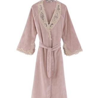 Халат женский Soft Cotton DESTAN хлопковая махра тёмно-розовый