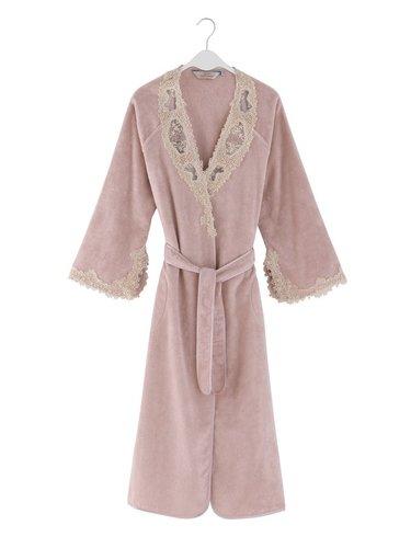 Халат женский Soft Cotton DESTAN хлопковая махра тёмно-розовый M, фото, фотография