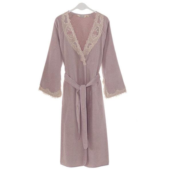 Халат женский Soft Cotton DESTAN хлопковая махра лиловый L, фото, фотография