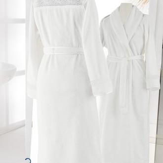 Халат женский Soft Cotton QUEEN хлопковая махра (молочный)