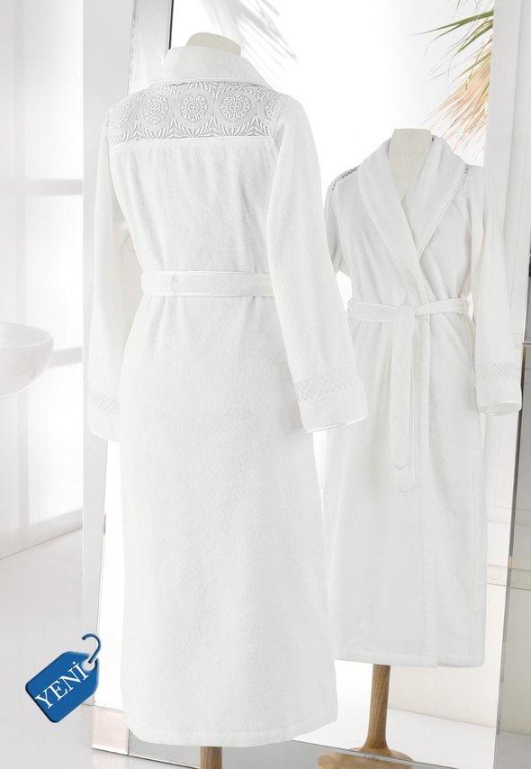 Халат женский Soft Cotton QUEEN хлопковая махра молочный L, фото, фотография
