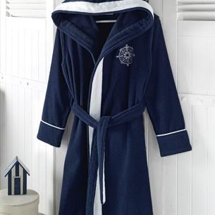 Халат женский Soft Cotton MARINE LADY хлопковая махра тёмно-синий L