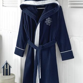 Халат женский Soft Cotton MARINE LADY хлопковая махра (тёмно-синий)