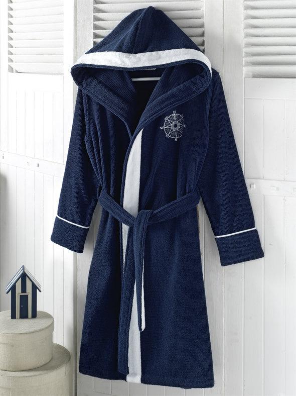 Халат женский Soft Cotton MARINE LADY хлопковая махра тёмно-синий S, фото, фотография