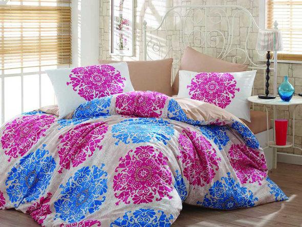 Комплект постельного белья Hobby AURA ранфорс фуксия семейный, фото, фотография