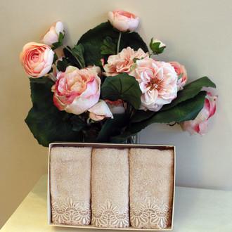 Набор полотенец для ванной в подарочной упаковке 32х50 3 шт. Soft Cotton VICTORIA хлопковая махра пудра
