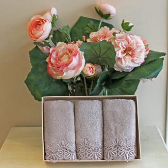 Набор полотенец для ванной в подарочной упаковке 32*50(3) Soft Cotton VICTORIA хлопковая махра (лиловый)