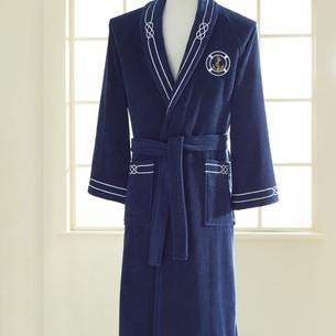 Халат мужской Soft Cotton MARINE хлопковая махра тёмно-синий XL