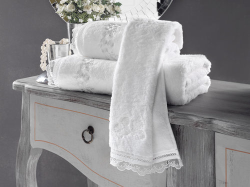 Полотенце для ванной Soft Cotton LUNA хлопковая махра белый 50х100, фото, фотография