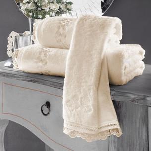 Полотенце для ванной Soft Cotton LUNA хлопковая махра экрю 85х150
