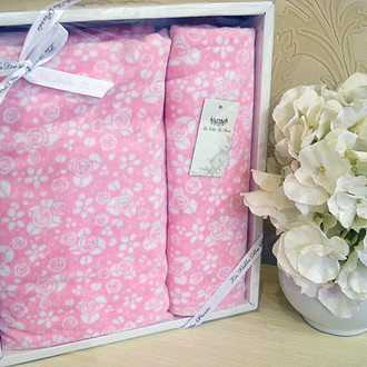 Подарочный набор полотенец для ванной 50*90, 70*140 La Villa ALLOWER хлопковая махра (розовый)
