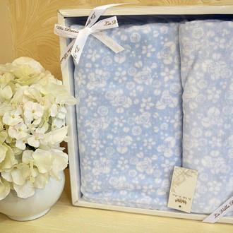 Подарочный набор полотенец для ванной 50*90, 70*140 La Villa ALLOWER хлопковая махра (голубой)
