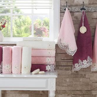 Подарочный набор полотенец для ванной 3 пр. La Villa BALEY хлопковая махра (тёмно-розовый)