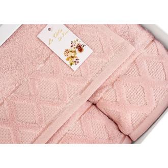 Подарочный набор полотенец для ванной La Villa CLAMP хлопковая махра 50*90, 70*140 (розовый)