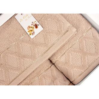 Подарочный набор полотенец для ванной La Villa CLAMP хлопковая махра 50*90, 70*140 (бежевый)