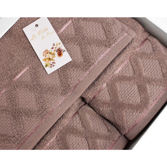 Подарочный набор полотенец для ванной La Villa CLAMP хлопковая махра 50*90, 70*140 (коричневый)