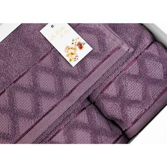 Подарочный набор полотенец для ванной La Villa CLAMP хлопковая махра 50*90, 70*140 (фиолетовый)
