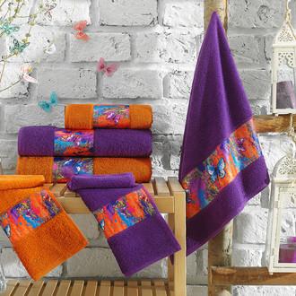 Подарочный набор полотенец для ванной 3 пр. La Villa GREANESS хлопковая махра (оранжевый)