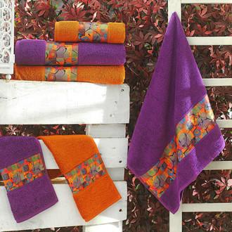Подарочный набор полотенец для ванной 3 пр. La Villa BROKEN хлопковая махра (фиолетовый)